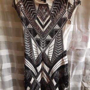 Express Dresses - Sequin Embellished Cap Sleeve Mini Bodycon Dress